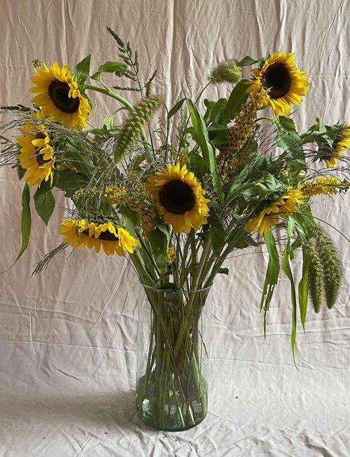 ramo girasoles con florero